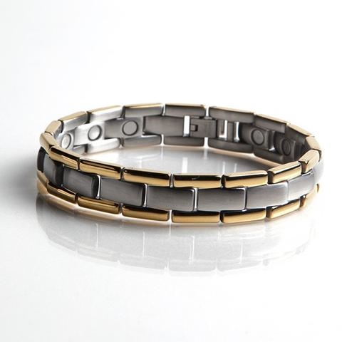 Magnetic Stainless Bracelet with Gold Plating (L44) Full Size Image #1