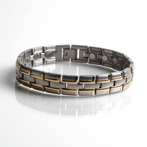 Magnetic Stainless Steel Bracelet with Gold Plating (086SG) Full Size Image #1