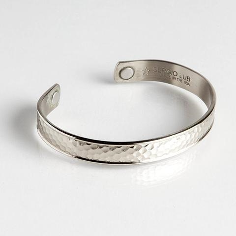 Magnetic Cuff Bracelet - Hammered Silver (729) Full Size Image #1