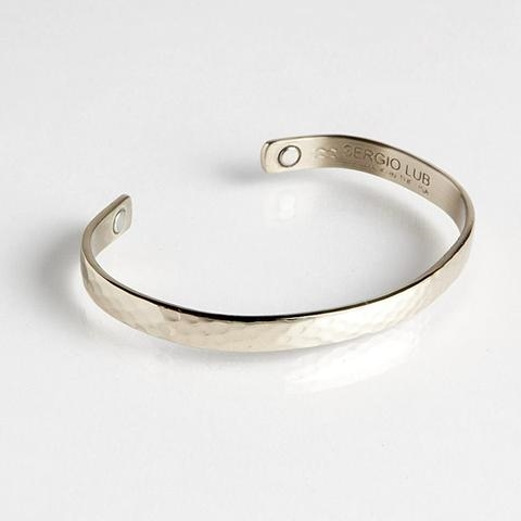 Magnetic Cuff Bracelet - Textured Silver (753M) Full Size Image #1