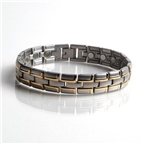 Magnetic Stainless Steel Bracelet with Gold Plating (086SG) Thumbnail #1
