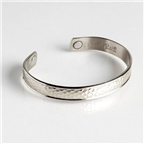 Magnetic Cuff Bracelet - Hammered Silver (729) Thumbnail #1